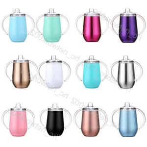 taza Sippy 10oz 12 colores acero inoxidable de doble pared al vacío aislado taza de viaje de vaso con doble asa y la tapa