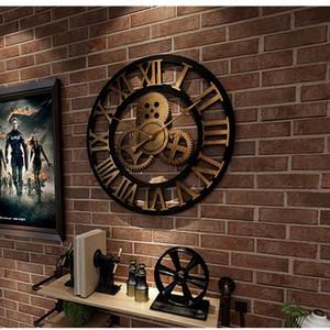 lüks duvar saati Endüstriyel Dişli Duvar Saati Dekoratif Retro Metal Sanayi Yaş Stil Odası Dekorasyon Wall Art Dekor