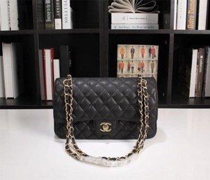 Hot classic handbag Grained Calfskin & Gold-Tone Metal luxury designer black lambskin shoulder bag fashion Women party bag