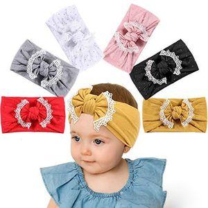 3 Kız Bebek Dantel Naylon Kafa moda yumuşak Şeker Renk Bohemya Bow Kız Bebek Saç Aksesuarları Headband Tasarımları