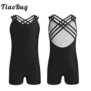 TiaoBug Kids Teens Sleeveless Strappy Body per balletto Ragazze Solid Color Gymnastics Body Tuta per bambini Pratica Dance Wear