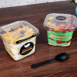 Caja de pastel transparente Transparente Mousse cuadrado Cajas de cupcake de plástico con tapa Yoguro Pudín Suministros de boda Boda Caja de embalaje FFA3160