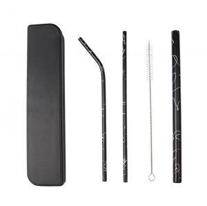 Нержавеющая сталь Солома Набор Бент Straight Bar многоразовый трубочки с Box Case Чистого Brush OOA7634-7