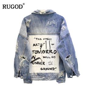 RUGOD 2018 Yeni Vintage Harf Yıpranmış Jean Ceket Kadınlar Sonbahar Kış Delik Denim Coat Kadın Bombacı ceketler Casaco Ripped yazdır