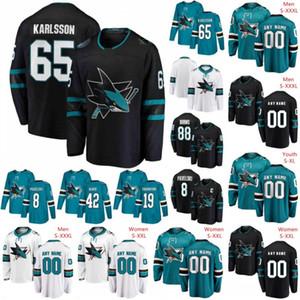 Nome do produto: San Jose Sharks 2019 Preto Terceiro Jersey Qualquer Número Nome homens mulheres juventude criança Branco Verde Azul Verde Vintage Queima Karlsson Kane Pavelski