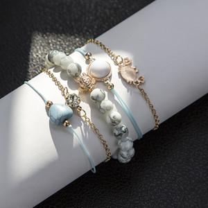 Bls-Wunder Boho Crab Herz Charm-Armbänder Set für Frauen Neue Design Steinperlen Infinite Statement Armband Vintage-Schmuck