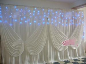 Alas del ángulo Swag de 3mx6m de hielo blanco contexto de la boda de seda de fondo de escena Cortina de boda decoraciones fiesta de cumpleaños