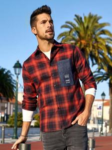 KUEGOU 100% хлопок осень мужская рубашка с длинным рукавом клетчатой рубашки моды весна одежды топ плюс размер BC-6987