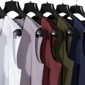 Men's Ice Silk traceless vest one-piece Sports wide shoulder V-neck Four Seasons Vest shirt men's sweat sleeveless shirt