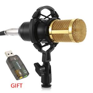 Microfone BM800 Karaoke Condensador Professional Studio Microfone Equipamento de áudio Suporte com placa de som para computador Karaoke Mic