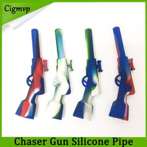 Gewehr Silikonpfeife mit Metallschale Ölplattform Shisha Wachs Stift Pfeifen 420 Small Gun Sneak A Toke