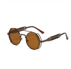 Мужчины Женщины Hip Hop Steampunk Солнцезащитные очки 2020 Новая мода Личность Ретро Punk ВС очки Круглый металлический каркас очки