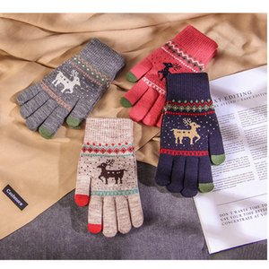 Inverno delle signore guanti a maglia più velluto spessore caldo carino studente a maglia di lana di Natale cervi modello XD22828