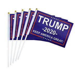Ручной Trump 2020 Флаг Баннер Trump Mini Flag рукояти Keep America Great президент Выборы Флаг США украшение партии DBC VT0638