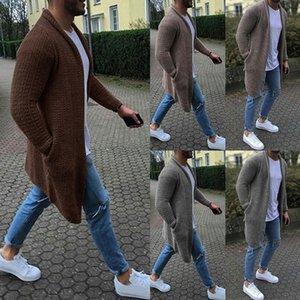 WENYUJH 2019 Autumn Men Knitted Stylish Men Cardigan Sweaters de punto Streetwear Casual Solid Long Sleeve Slim Outwear Overcoat