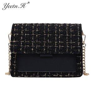 Cotone e lino Crossbody Borse per le donne 2019 inverno Shoulder Bag Messenger femminile Mini catena borse e portamonete