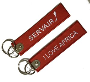Custom cotton twill keychain Servair I love AFRICA 13X3CM with metal ring as Customized design free shipping