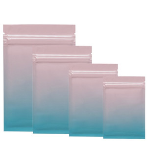Colorful Aluminum Foil Bag Self Seal Zipper Packing Food Bag, Pink Blue Green Retail Resealable Packaging Bag LX2937