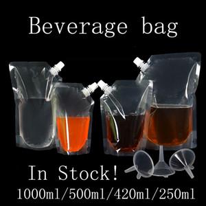 1000 ㎖ / 500ml의 / 420ml / 250ML 스탠드 업 음료 액체 주스 우유 커피 스토리지 가방 무료 배송 가방 스파우트 파우치 포장 플라스틱 음료를