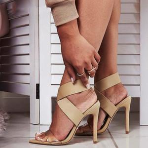 Yeni 2020 Yüksek Quqlity Roma Kadınlar Sandalet Açık Burun Stiletto Yüksek Topuklar Bayanlar Parti Stretch Kumaş Kayma-On Sandal Ayakkabı