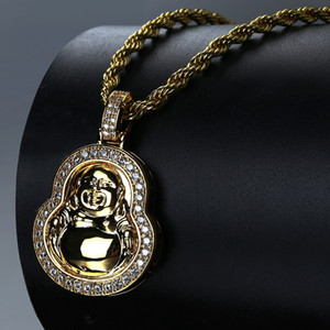 Novo Maitreya Buddha Pingente Ornamentos banhado a Ouro Zircon-inlay Colar de Hip-hop dos homens Venda Quente Na Europa e América