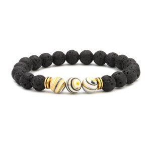 Livraison gratuite (8PC) Nouvelle Arrivée Lava Natural Pierre Perles Bracelets 7 Couleur Stone Perles Bracelet Bracelet Perlé Perles, Strands