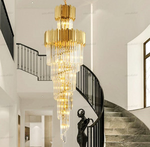 Luxury modern chandelier lighting for staircase large long crystal lamps hallway lobby gold chain chandeliers home decor light LLFA