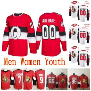 Costumbre 2020 Ottawa Senators jerseys Jean-Gabriel Pageau Magnus Pääjärvi Thomas Chabot Erik Karlsson Bobby Ryan Rojo Blanco jerseys del hockey
