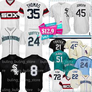 24 Ken Griffey Jr. Jersey 8 Bo Jackson 51 Ichiro Suzuki Frank Thomas 22 Robinson Cano 72 Carlton Fisk Todd Frazier Michael Baseball