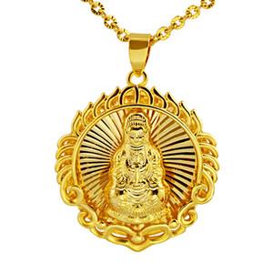 Collana Buddha Chain del cerchio oro giallo 18k riempito credenze buddiste regalo dei monili delle donne degli uomini