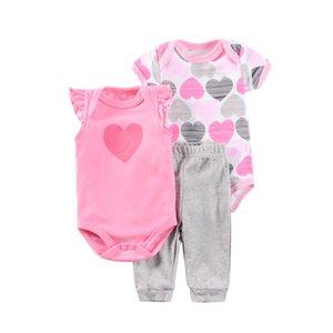 3Pcs lots Baby Girls Gift baby Clothes 3-12 Month boys cotton cutes 2pcs Bodysuits+ Pants Suit Set sleepwear