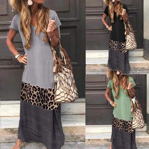 Vintage Leopard Long Dress Plus Size Loose Beach Summer Dress Fashion Casual Women Patchwork Short Sleeve
