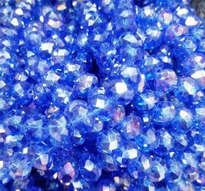 100pcs lot 4MM ROYAL BLUE Faceted Crystal rondelle spacer Beads DIY Jewelry making