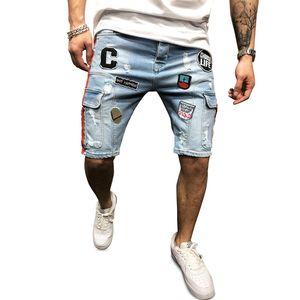 Denim Jeans Men Short Ripped Knee Length Multi Pocket Embroidery Personality Straight Street Urban Wind Short Pants