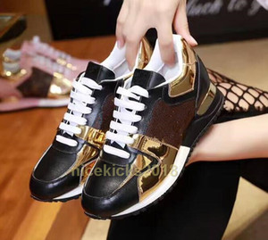 Hot Sale-NER Chaussures Casual Rockrunner Loisirs Chaussures Femmes Chaussures Mesh cuir Patchwork Flats Filles pas cher Meilleur Tennis