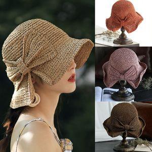 Sommer-Frauen-Mädchen-Strohhut Lady 8 Farben einfachen Bogen Fischer-Hut Trip Crochet Sun Shade Cap Grass Braid-Strand-Hüte M1396