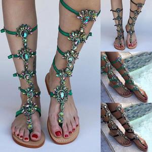 검투사 크리스탈 니 하이 버클 스트랩 샌들 여름 플랫 여성 샌들 보헤미아 모조 다이아몬드 플롭 비치 신발 플립