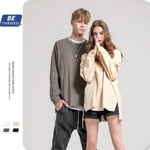 BE men's wear | 2019 autumn High Street ins trend oversize loose solid color split base T- Shirt shirt long sleeve T-shirt