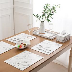 Hifuar Mermer Desen Masa Mat Yemek Masası Dishware Bardak PU Placment Mutfak Sofra Ped Düğün Dekoratif Mat
