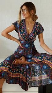 2019 봄 여성 민소매 섹시한 크로스 깊은 V 목 맥시 드레스 Hight 스플릿 패션 플로랄 인쇄 얇은 벨트 우아한 Boho Sundress Vestidos