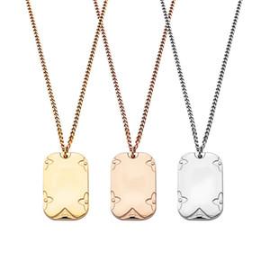 V letter military brand printed four-leaf flower necklace couple designer men and women military brand medium long necklace