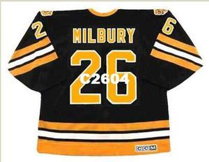 Mens # 26 MIKE MILBURY Boston Bruins 1983 CCM Vintage Retro Longe Hóquei Jersey ou personalizado qualquer nome ou número retro Jersey