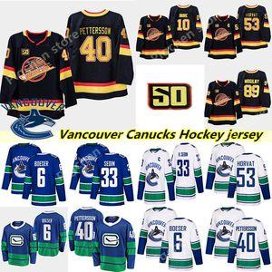 2018-2019 Mens Vancouver Canucks # 40 Elias Pettersson Hockey Jerseys costurado # 6 Brock Boeser # 53 Bo Horvat Vancouver Canucks Jersey