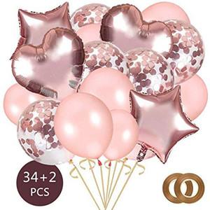 Festa de aniversário das crianças festa de casamento 36PCS amor balão terno balão da folha Limpar Partido Ballons Decoração Kid suprimentos Air Ballon Brinquedos