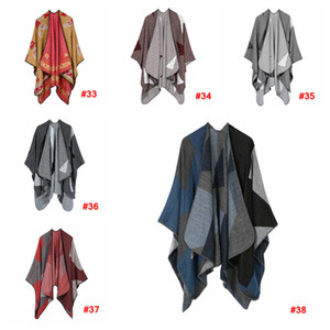 Women Scarf Cardigan 130*150cm Patchwork Poncho Cape Spring And Autumn Warm Blanket Cloak Wrap Shawl outwear Coat LJJA3180-14