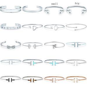 Yeni 100% 925 Ayar Gümüş SL 10 TFB TIF Orijinal Bilezik Klasik T-Şekilli Bilezik Çok Renkli İsteğe Bağlı Lüks İnce Jewerly