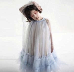 ZMHYAOKE 2020 yaz Ins Kız Over-the-diz Elbise 2020 Yeni Mesh Elbise Prenses Çocuk DRESSES Bebek pettiskirt Elbise Kız