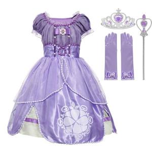 Kıyafet Giyim yukarı Cadılar Bayramı Fantezi Elbise Mor Kızlar Sofya Princess Kostüm Çocuk 5 Katmanlar Çiçek Sophia Parti Elbise Kız