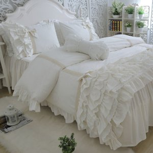 Amazing bedding set cake layers embroidery ruffle lace duvet cover bed sheet bedspread princess bed linen bow pillowcase