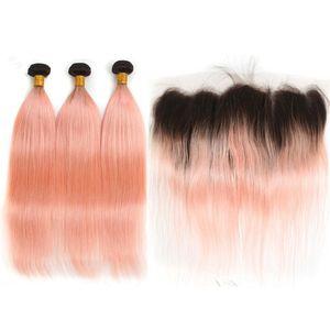 # 1B / Pembe Ombre Düz Hint İnsan Saç 3 Demetleri ile Frontal Gül Pembe Altın Ombre Siyah Kökleri Dantel Frontal Kapatma Örgüleri ile 13x4